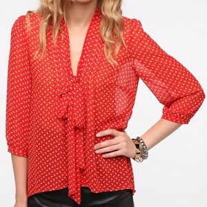 Anthropologie Pins & Needles Sheer Red Bow Blouse
